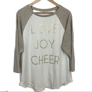 """State of Mine """"Love Joy Cheer"""" Graphic Tee Top XL"""